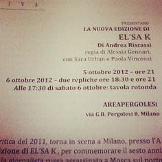 El'sa K a Milano Info: www.annaviva.org