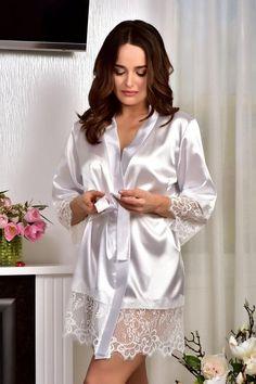 Bridal kimono Bride robe Kimono robe Lace bridal robe Womens satin white robe Wedding robe Satin robe lace Dressing gown Lace bridal kimono
