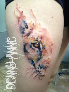 Lion watercolor tattoo …