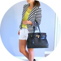 black & white striped blazer