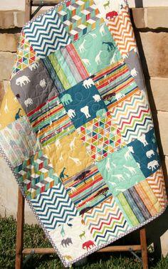 Safari Animals Quilt Boy Girl Giraffe by SunnysideDesigns2 on Etsy Safari Animals Quilt, Boy Girl Giraffe Elephants Organic Baby Blue Teal Gray Yellow Pool Orange Birch Fabric Modern Blanket Triangles Arrows