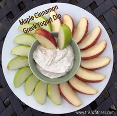 <<PUT DOWN THE CARMEL>>  >>>>>Dip your apples in this delicious Maple Cinnamon Greek Yogurt. YUM!  My girls love this dip! It is not only sweet. It is high in good for you protein. Click here for the recipe:  https://www.facebook.com/trishzelenakhealthylifestylecoaching/photos/a.541200956025016.1073741829.536049823206796/720617891416654/?type=3&theater