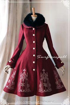 元素的圣殿*金银线刺绣羊毛大衣配狐毛领*表面咒语Lolita*14冬-淘宝网全球站