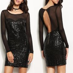 Sexy Women Cut Out Sequined Patchwork Bodycon Dress
