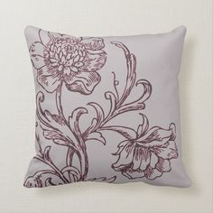 Gray and Burgundy Wine Modern Elegant Floral Throw Pillow - tap to personalize and get yours #ThrowPillow #gray #burgundy #wine #modern #elegant Modern Decorative Pillows, Modern Throw Pillows, Floral Throw Pillows, Accent Pillows, Grey Palette, Modern Color Palette, Traditional Fairy Tales, Pillow Drawing, Floral Throws