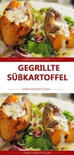 Gegrillte Süßkartoffel 😍 😍 😍 Kebab, Baked Potato, Potatoes, Chicken, Baking, Ethnic Recipes, Food, Eat Lunch, Food Dinners