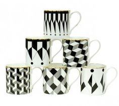 awesome graphic black and white +gold mugs