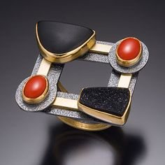 Ring | Beth Solomon. Sterling silver, 18 and 22k gold, black jade, druzy quartz, red coral.