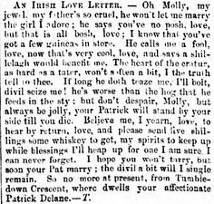 This amusing 'Irish love letter' was printed in the Waterford Chronicle in 1870.