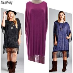 """STYLISH FRINGE SHIFT IN BLACK, NAVY OR RASPBERRY This is the most comfortable dress you will own. Trendy fringe accents the sleeves and hem with light marble fabric accent. Flats, heels, boots all work with this dress. Great as a coverup too! One size. 95% polyester, 5% spandex. Bust & hips: 59"""" Length: 44"""" PLEASE DO NOT BUY THIS LISTING, I will personalize one for you. Dresses"""