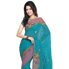 Blue Faux Chiffon Saree With Blouse Online Shopping: SKZ88