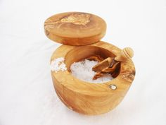 Olive+Wood+Salt+Keeper+With+Small+Scoop+Wooden+by+TunisiaHandMade,+$39.00