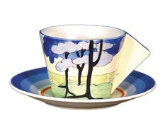 Clarice Cliff 'Blue Firs' pattern Bizarre conical cup and saucer.