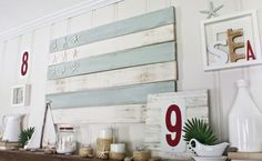 "If you wondered how we made the wooden flag in our ""Summer Mantel"" post, today's post is for YOU! A while back, we made some shutters out of inexpensive wood pickets from Lowes… But we didn't end up liking the way they looked when we mounted them to the window in the Reading Room… So …"