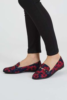 Opt for an on-trend look with these floral print loafers. An androgynous style, these easy slip-ons are totally wearable with metal trim detailing, and perfect styled back with tailored trousers. #Topshop