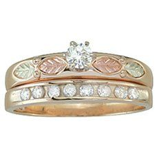 10k Gold Diamond Bridal Set with Engagement Ring & Wedding Ring with .10 carat Center Diamond.