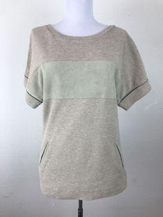 AllSaints Blouse Size Small Beige Cotton Pockets Short Sleeves Casual #AllSaints #Blouse #Casual