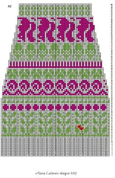 Knitting Charts, Knitting Stitches, Knitting Socks, Knitting Patterns, Tapestry Crochet Patterns, Fair Isle Pattern, Fair Isle Knitting, Stitch Patterns, Knit Crochet