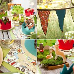 Woodland creatures. Hedgehogs tucked with napkins in paper crowns. Wood animals on the tablescape. Colorful napkins with natural recycle-friendly dishes.