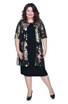 34feafcb24 Czarna sukienka z narzutką ze złotym wzorem - Modne Duże Rozmiary