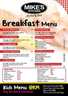 Mikes Kitchen Milnerton Breakfast Menu Sirlion Steak, Grilled Tomatoes, Kitchen Time, Breakfast Menu, Grilling, Bacon, Toast, Grill Party
