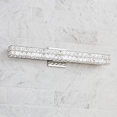 An energy-efficient LED bath light fixture with clear crystal squares and a sleek chrome  sc 1 st  Pinterest & Shop Kichler Lighting 4-Light Krystal Ice Chrome Crystal Bathroom ... azcodes.com