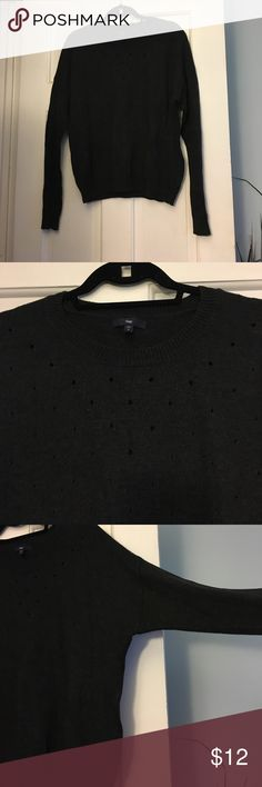 Charcoal gray sweater Charcoal gray Gap sweater with hole detail around the neck. Slight dolman sleeve. Crew neck. GAP Sweaters Crew & Scoop Necks