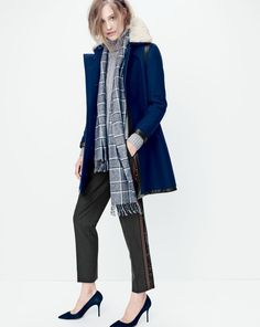 DEC '14 Style Guide: J.Crew women's Collection shearling collar coat, cambridge cable chunky turtleneck, sequin tuxedo pant, and Collection cashmere scarf in black plaid.