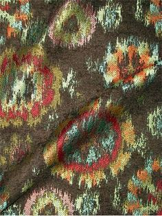 Ghallagher Hunt $18.95 yard   Ikat tribal chenille ground tapestry fabric.