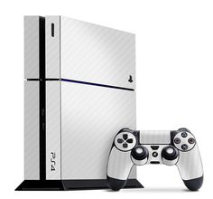 Playstation 4 Cover/Skin - Carbon Fiber White from Slickwraps