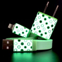 Glow-In-The-Dark iPhone Chargers with Polka Dots.