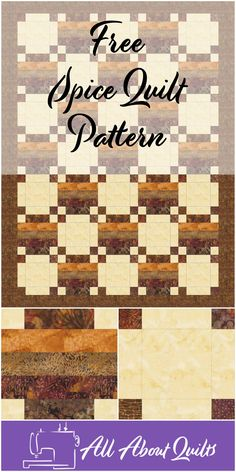 """Spice"" quilt pattern - Joannes Designs at All About Quilts; just 2 types of blocks Beginner Quilt Patterns, Quilting For Beginners, Quilt Patterns Free, Free Pattern, Quilting Designs, Quilt Design, Easy Quilts, Quilt Blocks, Spice"