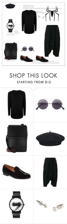 """Black Panther"" by sylviaasue ❤ liked on Polyvore featuring Topman, Marvel, Vera Wang, Christian Louboutin, Element, Vince Camuto, Alchemy, South Lane and blackpanther"
