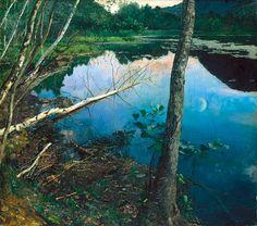 EILIF PETERSSEN: «Sommernatt» er malt ved Dælivann under Fleskum-sommeren.