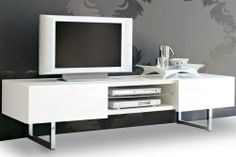 "Seattle Media Unit by Calligaris... Made in Italy...In stock in the U.S., features 2 side drawers and one central open comparment. 72.5"" W x 20.75""D x 17.75""H.. Available in Glossy Black or White Case, Doors in Matching finish OR WALNUT. and Base in Chrome or Satin Finished Steel. Available at POMP HOME in Culver City, CA www.pomphome.com"