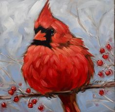"""Cardinal painting, 5x5"""" impressionistic original oil painting of a male Cardinal on a branch with berries, bird paintings, Cardinal painting:"""