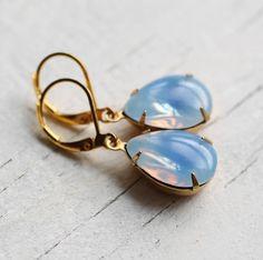 blue opal glow earrings by silk purse, sow's ear | notonthehighstreet.com