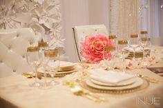 Gold and pink table decor | Bridal Extravaganza of Atlanta