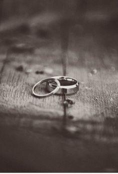 Wedding Bands on Wood Floor