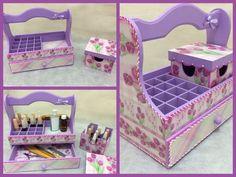 Nail Polish Organizer Wooden Storage Box with by CLVLArtsBrazil, $58.00