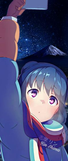 Yuru Camp Nao Mount Fuji night starry sky Artist: Background edit by me Anime Art Girl, Manga Girl, Anime Girls, Cute Pink Background, Kawaii Chibi, Beautiful Anime Girl, Animes Wallpapers, Manga Games, Anime Couples
