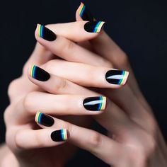 French Nails 2018: Rainbow On Black Base #blacknails #rainbownails ★ French nails design ideas and tips for natural or acrylic, short or long nails with glitter or otheraccessories. ★ See more: http://glaminati.com/french-nails-design-ideas/ #frenchnails #frenchmanicure #frenchmani #frenchnailsdesign #glaminati #lifestyle
