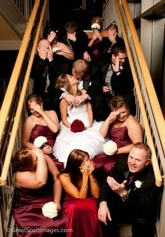 group wedding photo on stairs