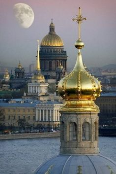 Moon and St. Petersburg, Russia