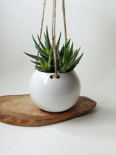 White Hanging Planter MADE TO ORDER Hanging pot for by viCeramics