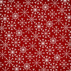 white heart snowflakes on red