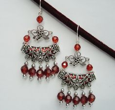 Tibetan Silver Elegant Statement  Hippy Gypsy Bohemian Filigree Chandelier Dangle Earrings with BLING Colors Root Beer Brown