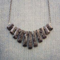 Larvikite Bib Necklace  Black Labradorite Necklace by MarleeCWatts