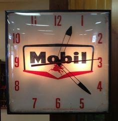 Mobil Oil Clock  1959 Clock Vintage, Antique Clocks, Vintage Signs, Pegasus Logo, Headache Cure, Louis Xvi, Old Garage, Cool Clocks, Antique Collectors