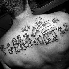 Mens Back Drawing Cartoon Family Tattoo